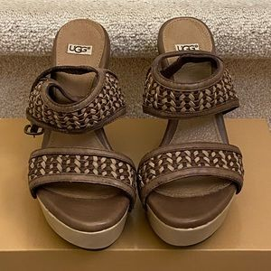 UGG-Women's Assia Woven Leather Wedge Sandals.